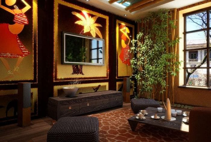красивый стиль спальни в этническом стиле