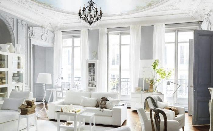 светлый декор квартиры в французском стиле