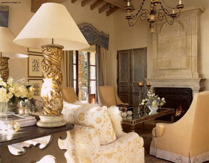 красивый дизайн гостиной в французском стиле