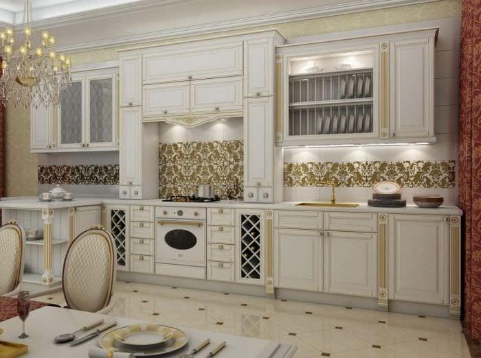 красивый дизайн белой кухни с оттенком желтого