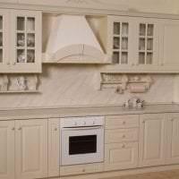 светлый дизайн бежевой кухни в стиле эко фото