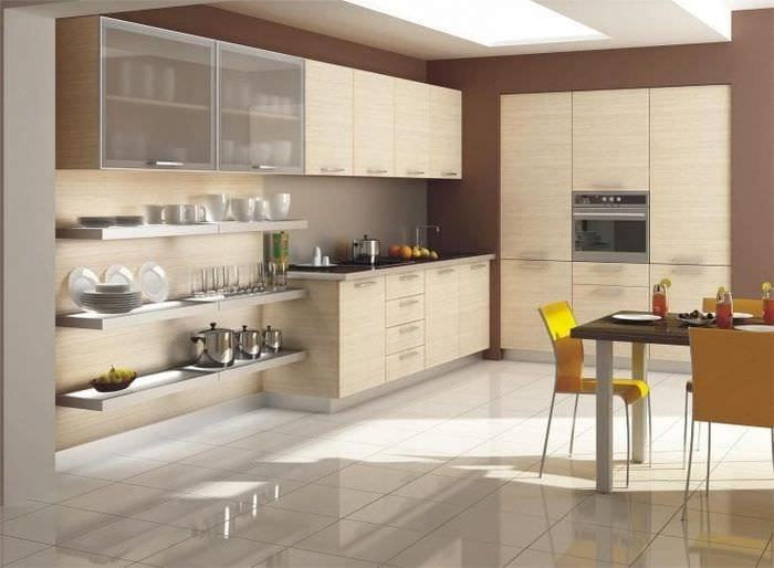 яркий дизайн бежевой кухни в стиле эко