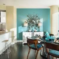 красивый стиль кухни в бирюзовом цвете фото