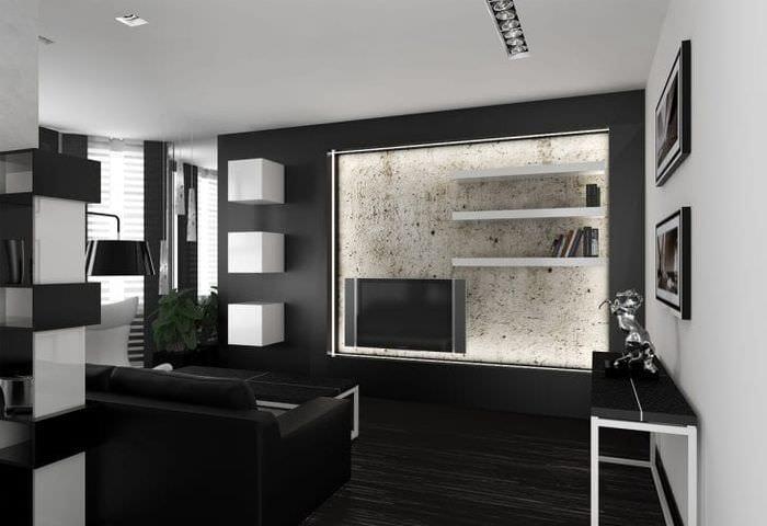 шикарный интерьер комнаты в стиле хай тек