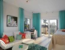 светлый дизайн спальни в бирюзовом цвете картинка