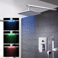 красивый стиль ванной комнаты с душем в темных тонах фото