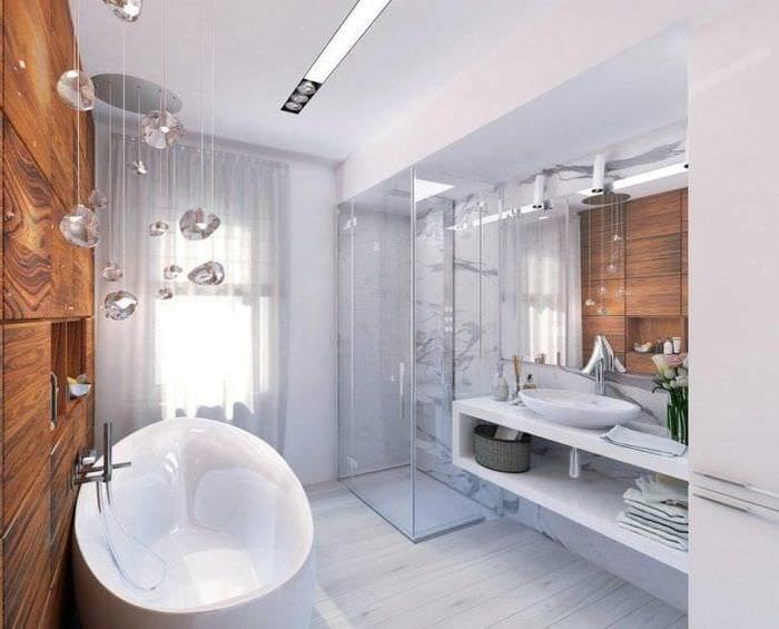 светлый дизайн ванной комнаты с душем в светлых тонах