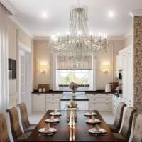 светлый дизайн белой кухни с оттенком розового фото
