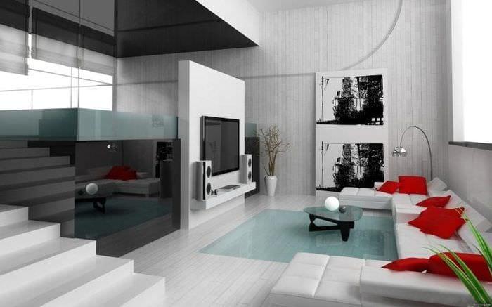 красивый интерьер гостиной в белом цвете