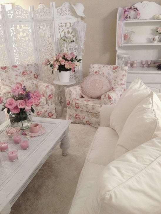 яркий стиль комнаты в стиле шебби шик