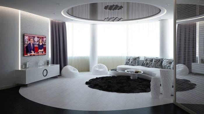 яркий дизайн комнаты в белых тонах