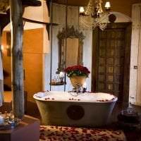 яркий интерьере гостиной в этническом стиле картинка