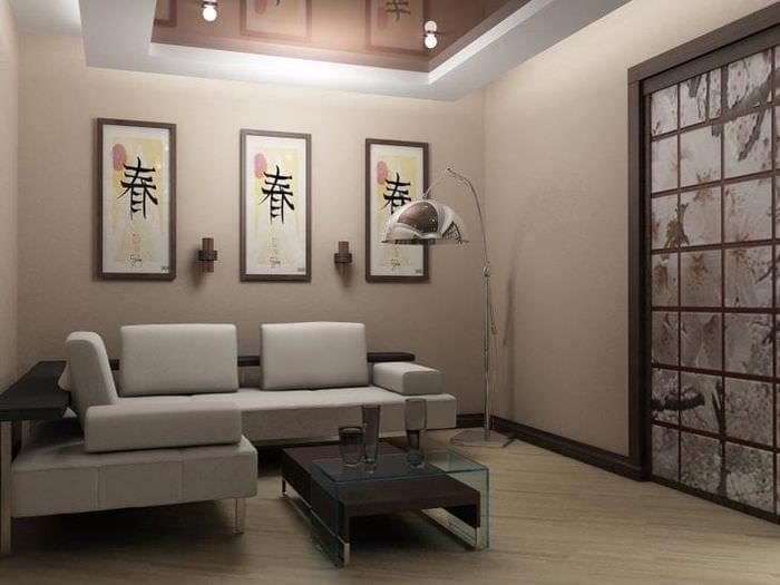 красивый стиль гостиной в японском стиле