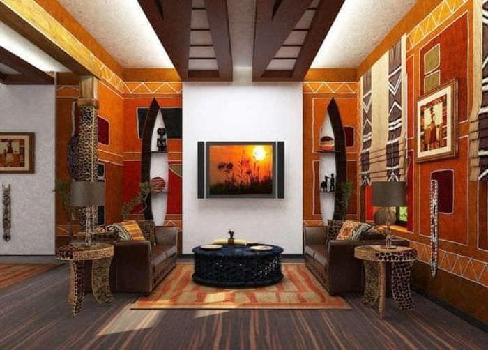 красивый интерьере гостиной в этническом стиле