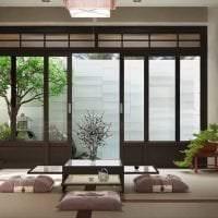 светлый интерьере гостиной в японском стиле фото