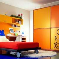 яркий терракотовый цвет в интерьере спальни картинка