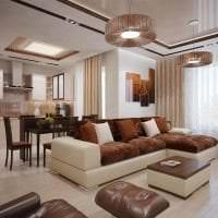 кожаный угловой диван в дизайне квартиры фото