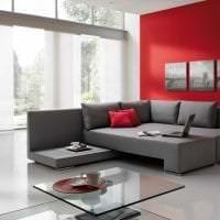 кожаный угловой диван в дизайне гостиной фото