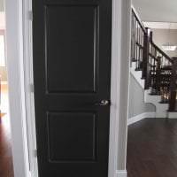 темные двери в декоре кухни из дуба фото