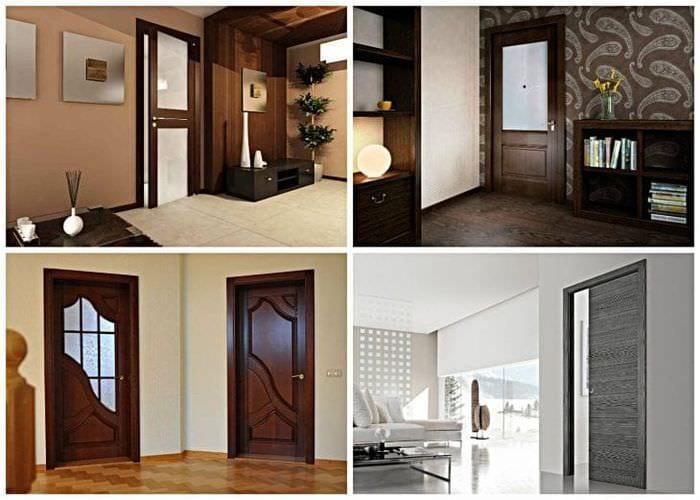 темные двери в интерьере гостиной из дуба