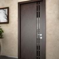темные двери в дизайне кухни из ореха фото