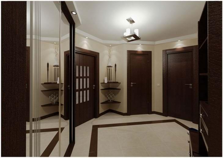 темные двери в дизайне кухни из дуба