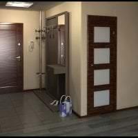 темные двери в декоре коридора из красного дерева фото