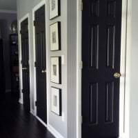 темные двери в стиле гостиной из ореха фото