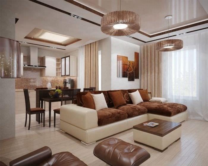 темный угловой диван в интерьере гостиной