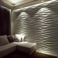 светлая бамбуковая 3д панель в гостиной фото