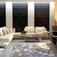 яркая бамбуковая 3д панель в гостиной фото