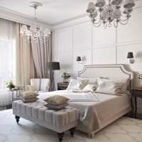 светлая мдф 3д панель в спальне картинка
