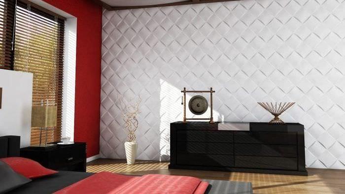 светлая алюминевая 3д панель в гостиной
