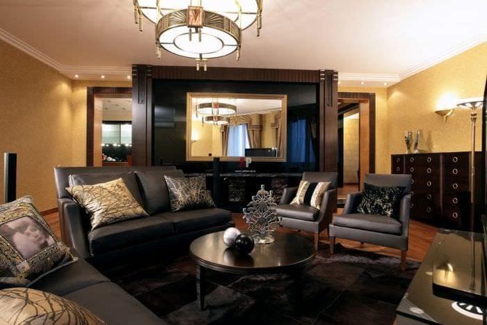 светлый ар деко стиль гостиной