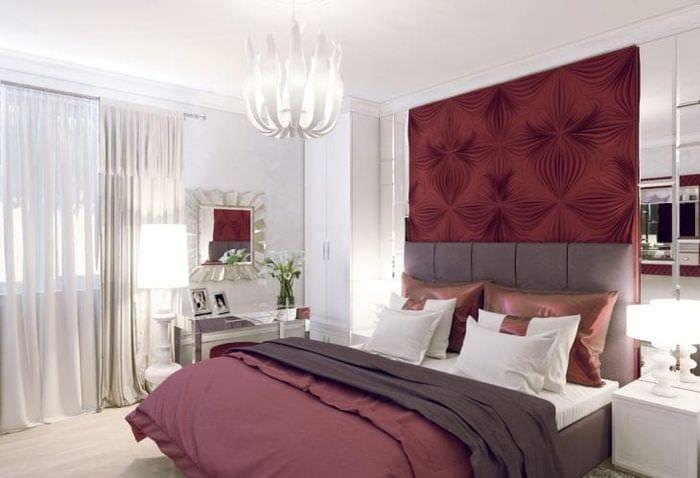 боковой поверхности дизайн спальни с бордовыми обоями фото можно так