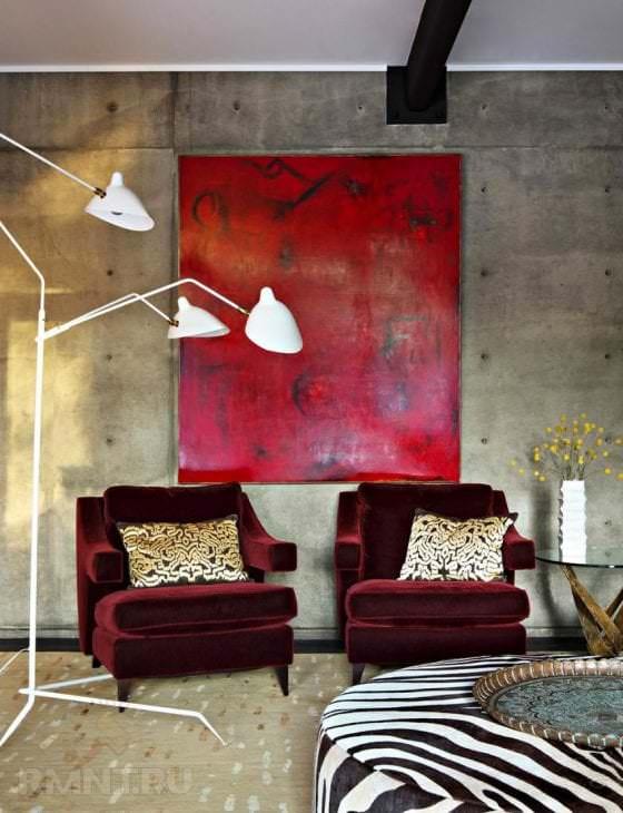 яркий цвет марсала в дизайне комнаты