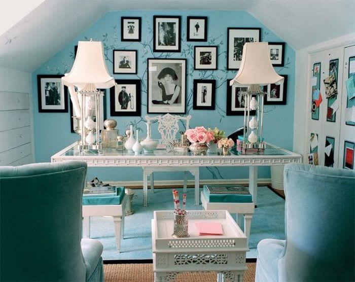 красивый цвет тиффани в стиле коридора