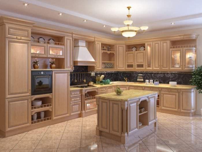 красивый интерьер бежевой кухни в стиле хай тек