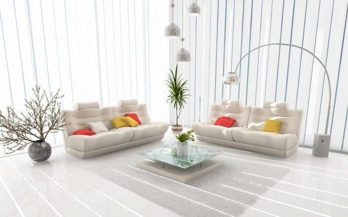 яркий дизайн коридора в белом цвете