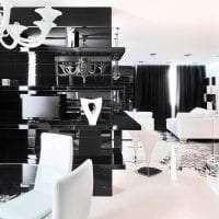красивый стиль кухни в черно белом цвете картинка