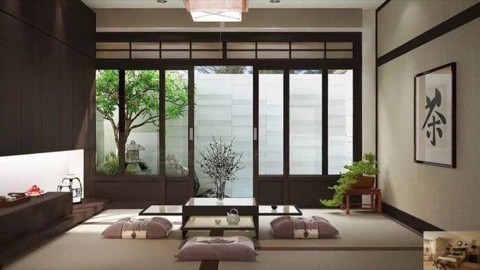 яркий дизайн спальни в японском стиле