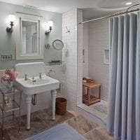 красивый стиль ванной комнаты с душем в темных тонах картинка