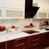 яркий фартук из плитки маленького формата с рисунком в дизайне кухни фото