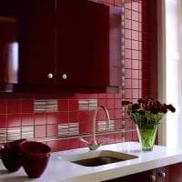 светлый фартук из плитки стандартного формата с рисунком в интерьере кухни фото