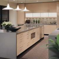 яркий дизайн бежевой кухни в стиле классика фото