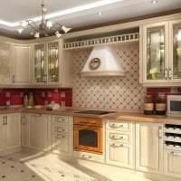 светлый интерьер бежевой кухни в стиле эко картинка