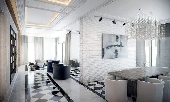 светлый дизайн гостиной в белом цвете