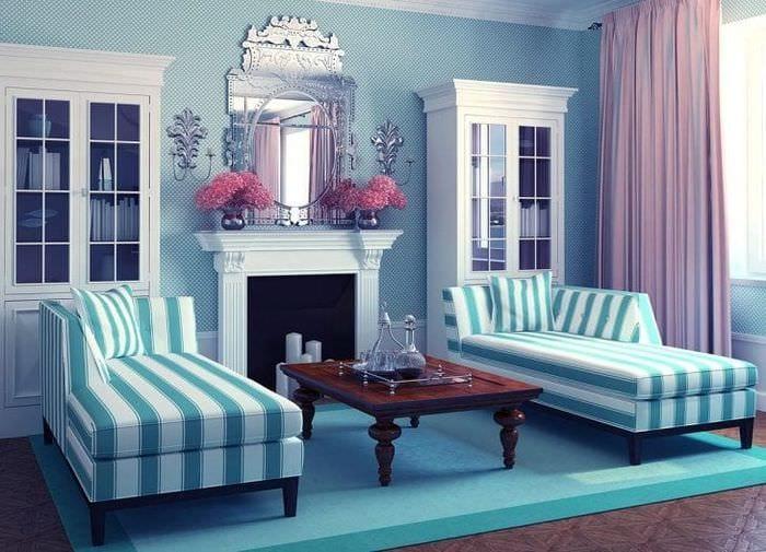 необычный интерьер квартиры в бирюзовом цвете