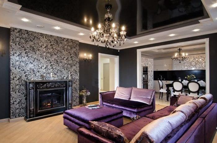 шикарный интерьер комнаты в стиле деко арт
