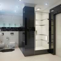 красивый декор ванной комнаты с душем в ярких тонах картинка
